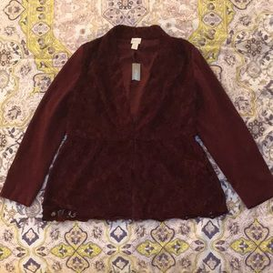 Victorian/Bohemian Burgundy Chico's Jacket